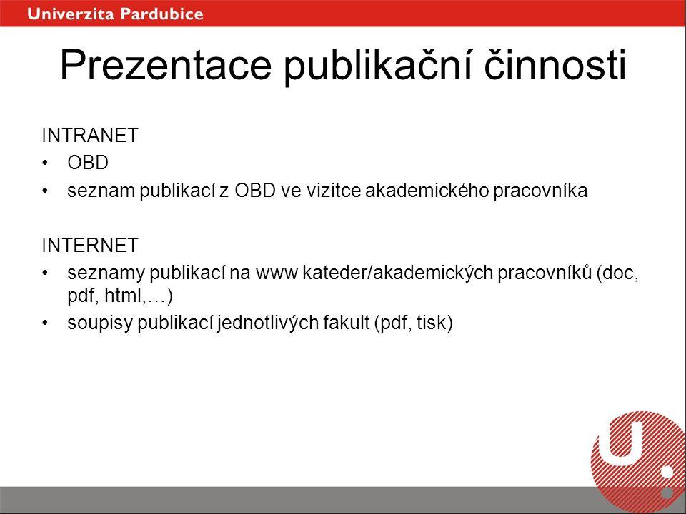 Prezentace publikační činnosti INTRANET OBD seznam publikací z OBD ve vizitce akademického pracovníka INTERNET seznamy publikací na www kateder/akademických pracovníků (doc, pdf, html,…) soupisy publikací jednotlivých fakult (pdf, tisk)