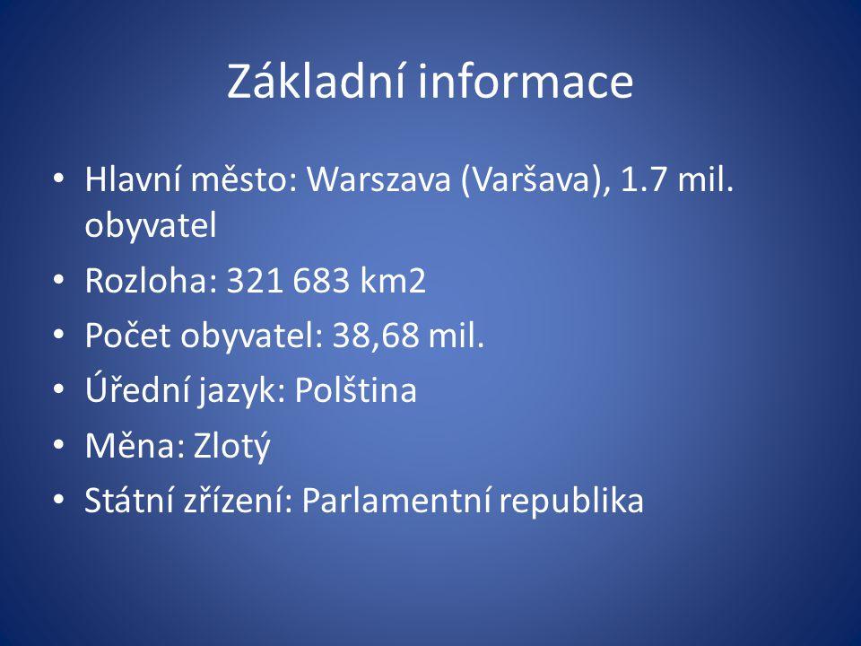 Základní informace Hlavní město: Warszava (Varšava), 1.7 mil.