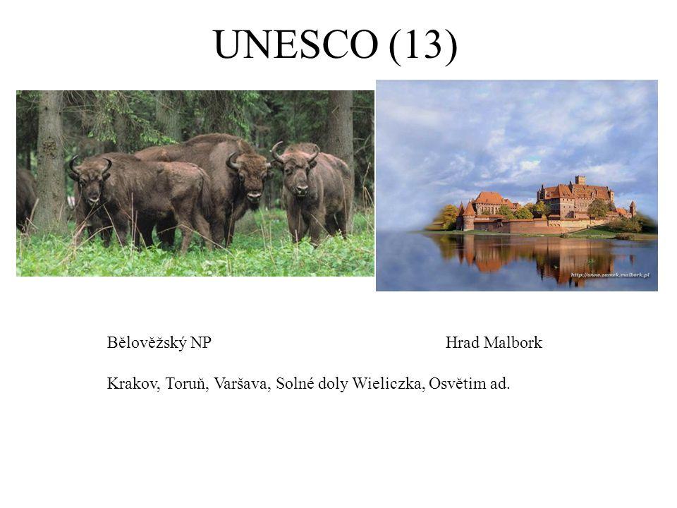 UNESCO (13) Bělověžský NPHrad Malbork Krakov, Toruň, Varšava, Solné doly Wieliczka, Osvětim ad.