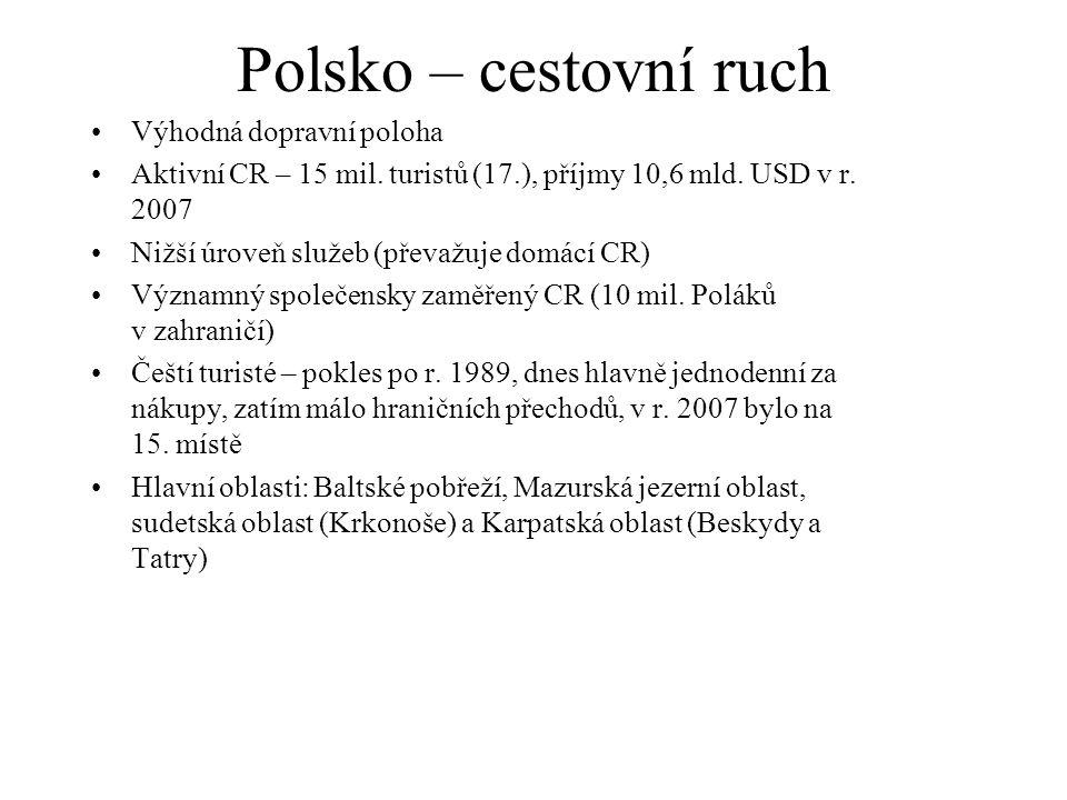 Polsko – cestovní ruch Výhodná dopravní poloha Aktivní CR – 15 mil.