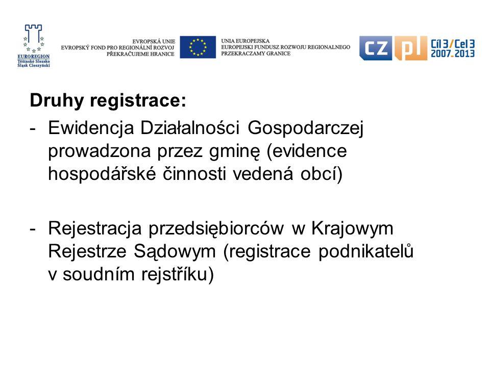 Zakládání podnikání fyzickou osobou: Zápis do Ewidencji Działalności Gospodarczej (na obecním úřadě) Získání IČ na statistickém úřadě (IČ = numer REGON) Zřízení bankovním účtu v Polsku Přidělení čísla DIČ a přihlášení k DPH (DIČ = NIP; DPH = VAT) Přihlášení na správě sociálního zabezpečení
