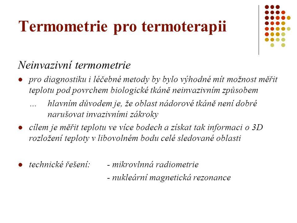 Neinvazivní termometrie pro diagnostiku i léčebné metody by bylo výhodné mít možnost měřit teplotu pod povrchem biologické tkáně neinvazivním způsobem