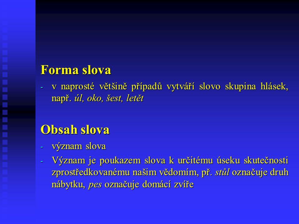 Forma slova - v naprosté většině případů vytváří slovo skupina hlásek, např.