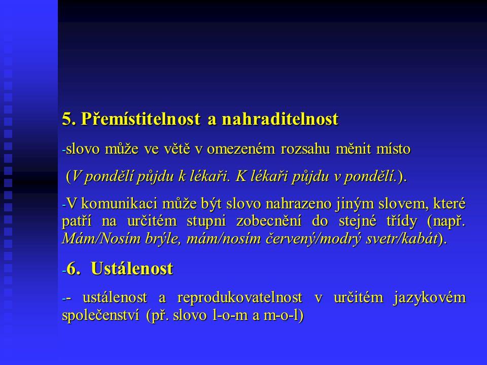 Základní charakteristiky slova 1.Formálně-významová jednota 1.