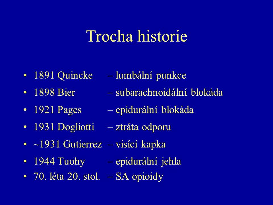 Trocha historie 1891 Quincke – lumbální punkce 1898 Bier – subarachnoidální blokáda 1921 Pages – epidurální blokáda 1931 Dogliotti – ztráta odporu ~1931 Gutierrez – visící kapka 1944 Tuohy – epidurální jehla 70.