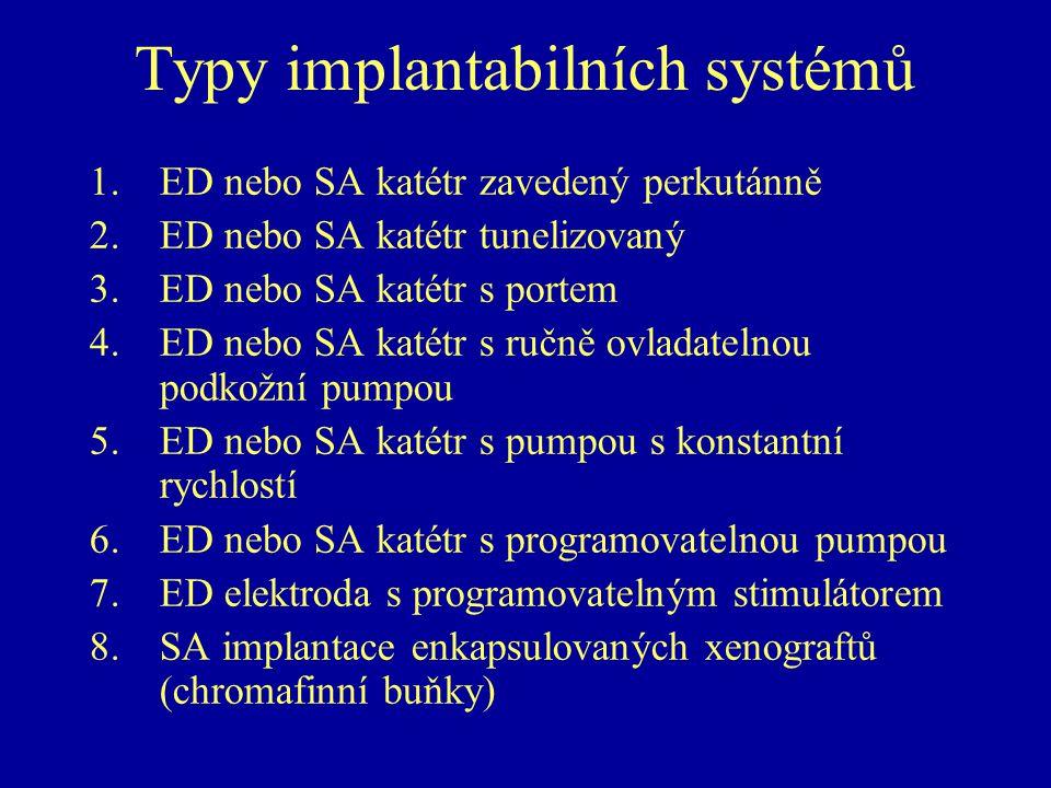 Typy implantabilních systémů 1.ED nebo SA katétr zavedený perkutánně 2.ED nebo SA katétr tunelizovaný 3.ED nebo SA katétr s portem 4.ED nebo SA katétr s ručně ovladatelnou podkožní pumpou 5.ED nebo SA katétr s pumpou s konstantní rychlostí 6.ED nebo SA katétr s programovatelnou pumpou 7.ED elektroda s programovatelným stimulátorem 8.SA implantace enkapsulovaných xenograftů (chromafinní buňky)