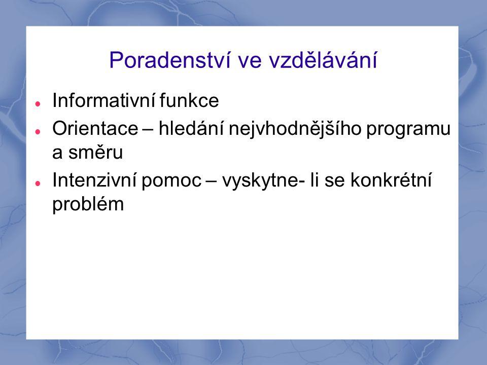 Poradenství ve vzdělávání Informativní funkce Orientace – hledání nejvhodnějšího programu a směru Intenzivní pomoc – vyskytne- li se konkrétní problém