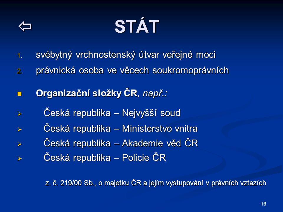16  STÁT 1. svébytný vrchnostenský útvar veřejné moci 2. právnická osoba ve věcech soukromoprávních Organizační složky ČR, např.: Organizační složky