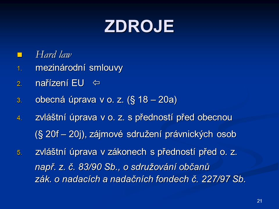 21 ZDROJE Hard law Hard law 1. mezinárodní smlouvy 2. nařízení EU  3. obecná úprava v o. z. (§ 18 – 20a) 4. zvláštní úprava v o. z. s předností před