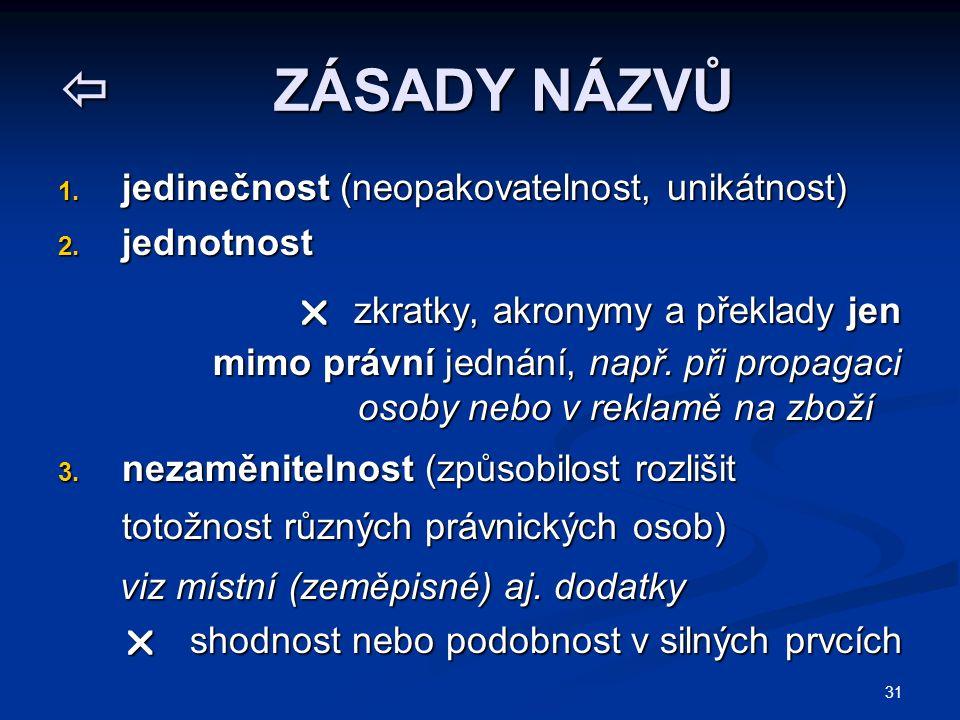 31  ZÁSADY NÁZVŮ 1. jedinečnost (neopakovatelnost, unikátnost) 2. jednotnost  zkratky, akronymy a překlady jen  zkratky, akronymy a překlady jen mi
