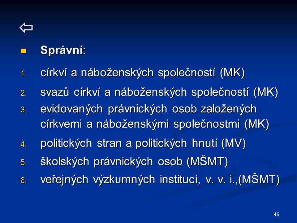 46  Správní: Správní: 1. církví a náboženských společností (MK) 2. svazů církví a náboženských společností (MK) 3. evidovaných právnických osob založ