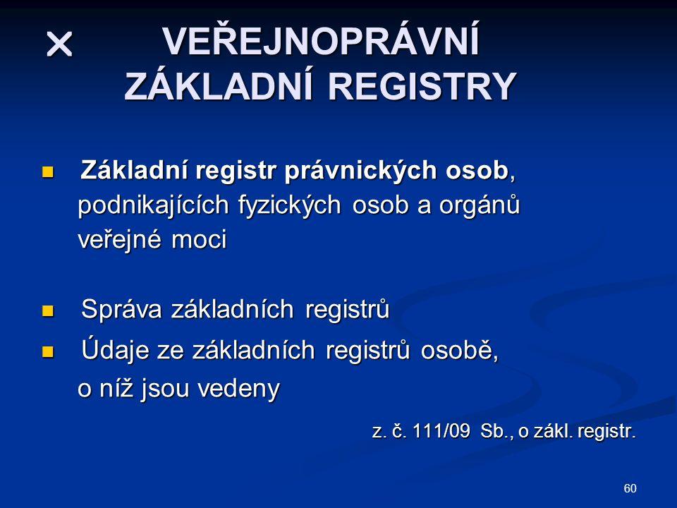 60  VEŘEJNOPRÁVNÍ ZÁKLADNÍ REGISTRY Základní registr právnických osob, Základní registr právnických osob, podnikajících fyzických osob a orgánů podnikajících fyzických osob a orgánů veřejné moci veřejné moci Správa základních registrů Správa základních registrů Údaje ze základních registrů osobě, Údaje ze základních registrů osobě, o níž jsou vedeny o níž jsou vedeny z.