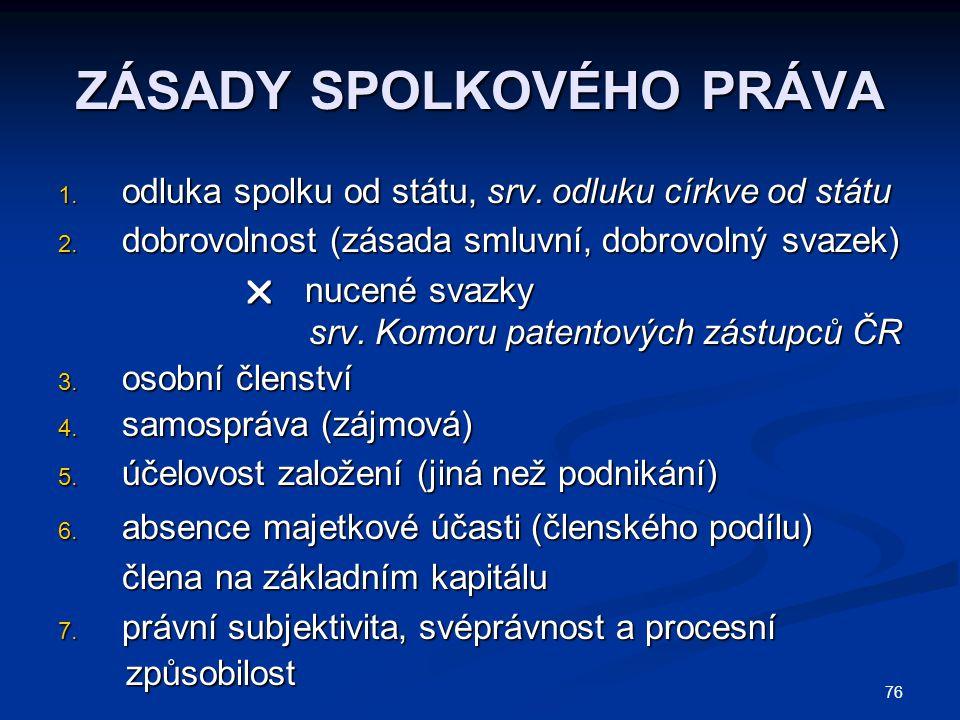 76 ZÁSADY SPOLKOVÉHO PRÁVA 1.odluka spolku od státu, srv.