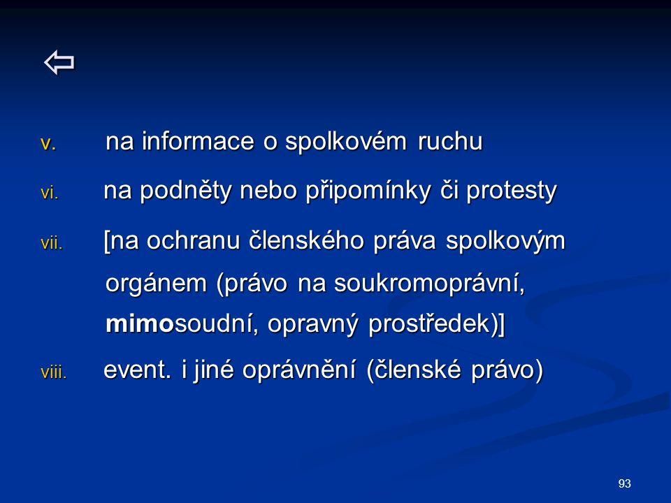 93  v. na informace o spolkovém ruchu vi. na podněty nebo připomínky či protesty vii. [na ochranu členského práva spolkovým orgánem (právo na soukrom