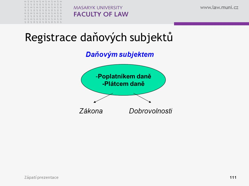 www.law.muni.cz Registrace daňových subjektů Zápatí prezentace111 Daňovým subjektem ZákonaDobrovolnosti