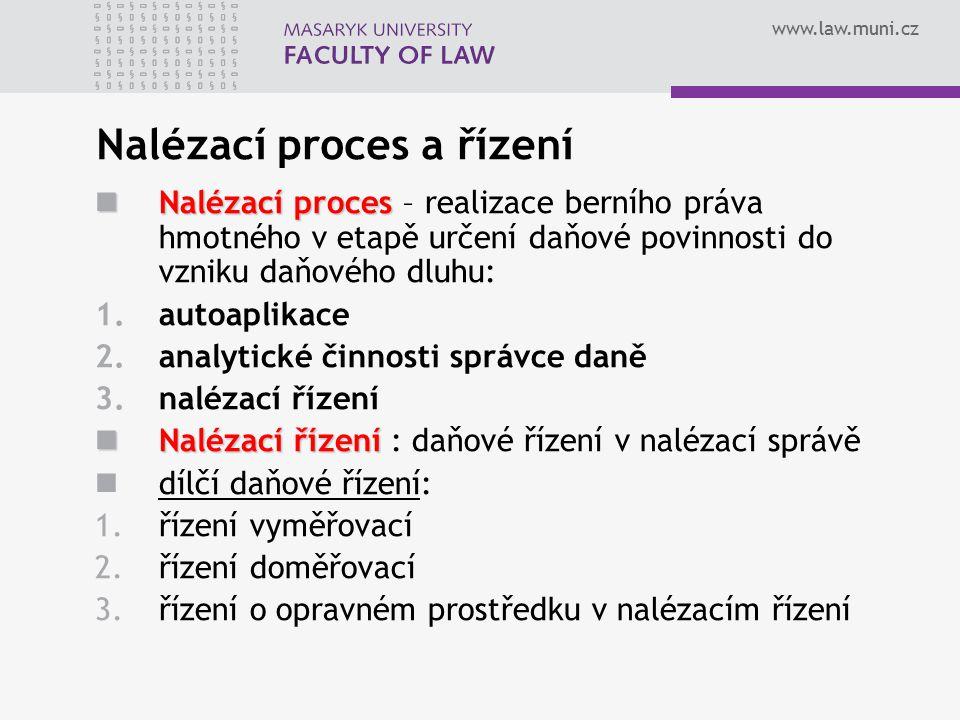 www.law.muni.cz Nalézací proces a řízení Nalézací proces Nalézací proces – realizace berního práva hmotného v etapě určení daňové povinnosti do vzniku