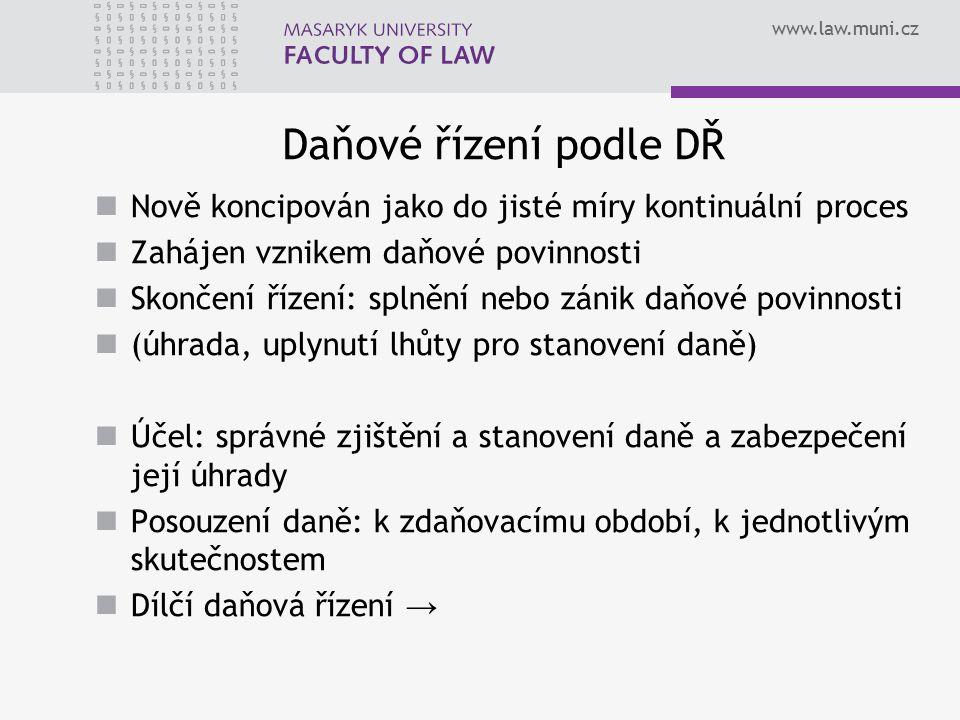 www.law.muni.cz Daňové řízení podle DŘ Nově koncipován jako do jisté míry kontinuální proces Zahájen vznikem daňové povinnosti Skončení řízení: splněn
