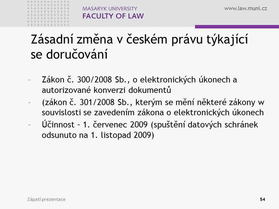 www.law.muni.cz Zápatí prezentace54 -Zákon č. 300/2008 Sb., o elektronických úkonech a autorizované konverzi dokumentů -(zákon č. 301/2008 Sb., kterým