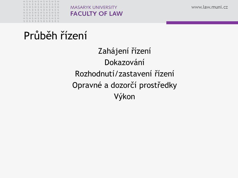 www.law.muni.cz Průběh řízení Zahájení řízení Dokazování Rozhodnutí/zastavení řízení Opravné a dozorčí prostředky Výkon