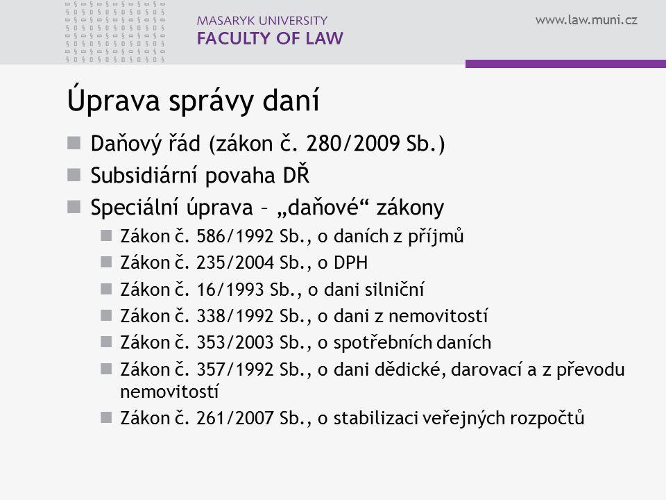 www.law.muni.cz Daňové tvrzení Výsledek procesu autoaplikace Formalizovaný finančněprávní akt Podnět k zahájení nalézacího (vyměřovacího nebo doměřovacího) řízení