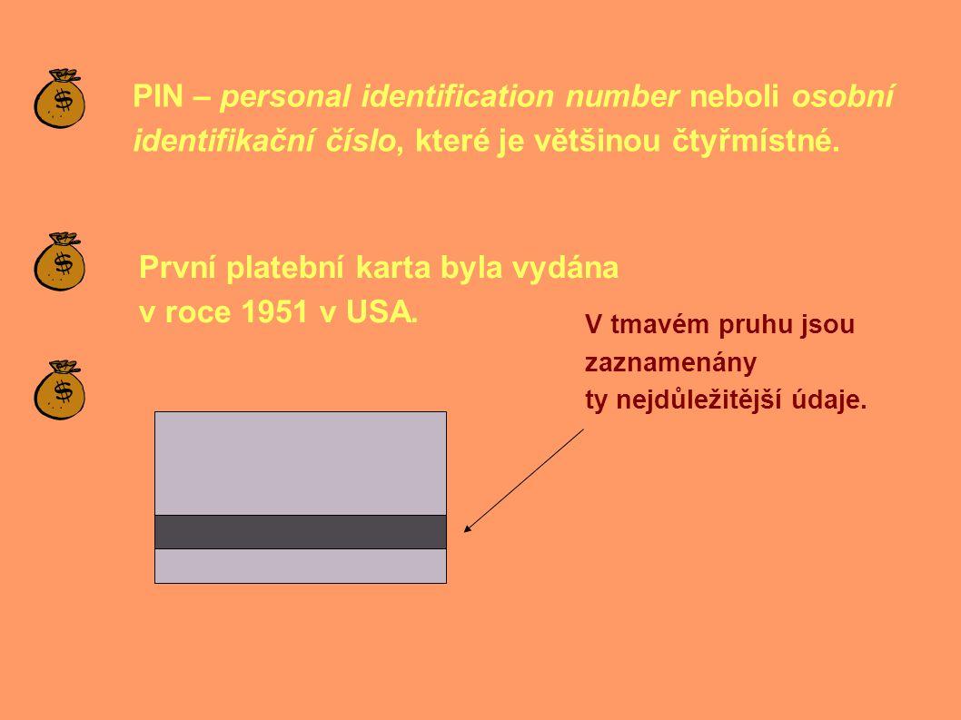 PIN – personal identification number neboli osobní identifikační číslo, které je většinou čtyřmístné.