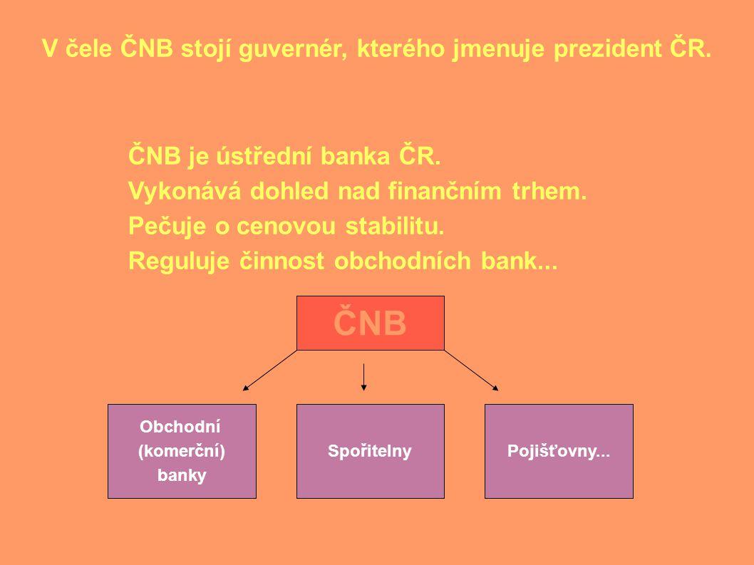 V čele ČNB stojí guvernér, kterého jmenuje prezident ČR.