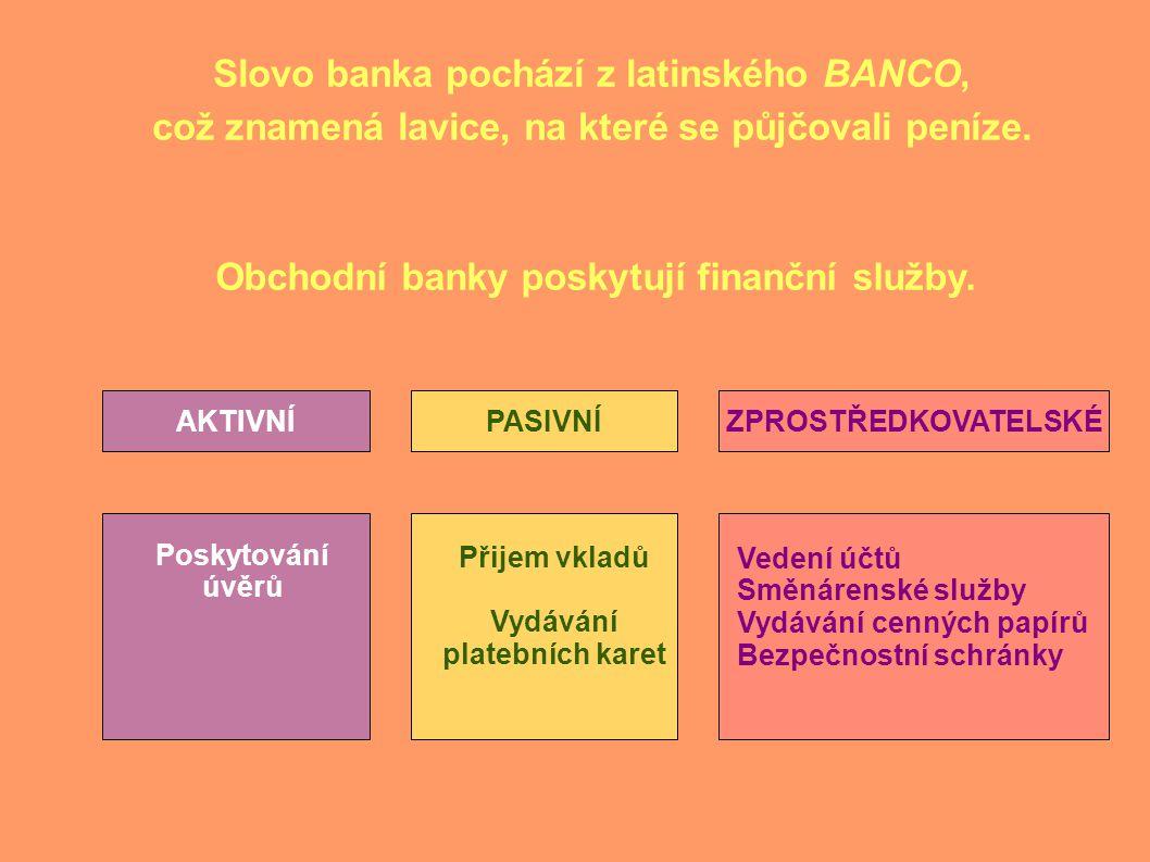 Slovo banka pochází z latinského BANCO, což znamená lavice, na které se půjčovali peníze.