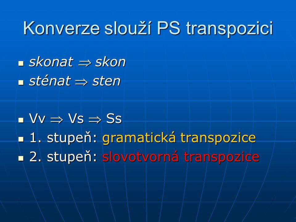 Konverze slouží PS transpozici skonat  skon skonat  skon sténat  sten sténat  sten Vv  Vs  Ss Vv  Vs  Ss 1.