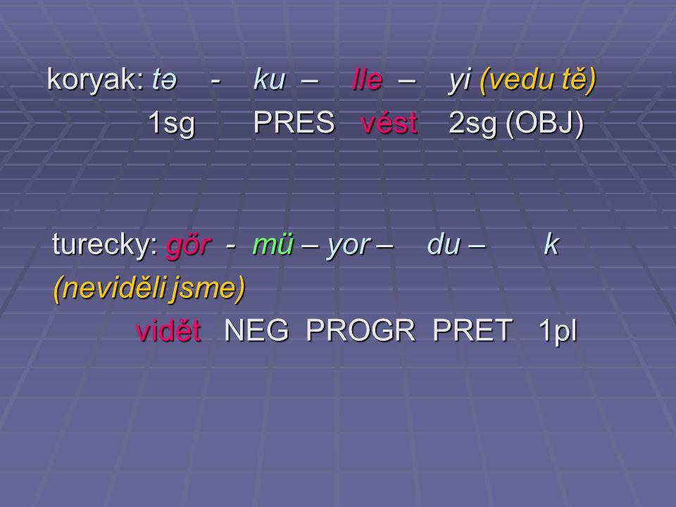 koryak: tə - ku – lle – yi (vedu tě) 1sg PRES vést 2sg (OBJ) 1sg PRES vést 2sg (OBJ) turecky: gör - mü – yor – du – k (neviděli jsme) vidět NEG PROGR PRET 1pl vidět NEG PROGR PRET 1pl