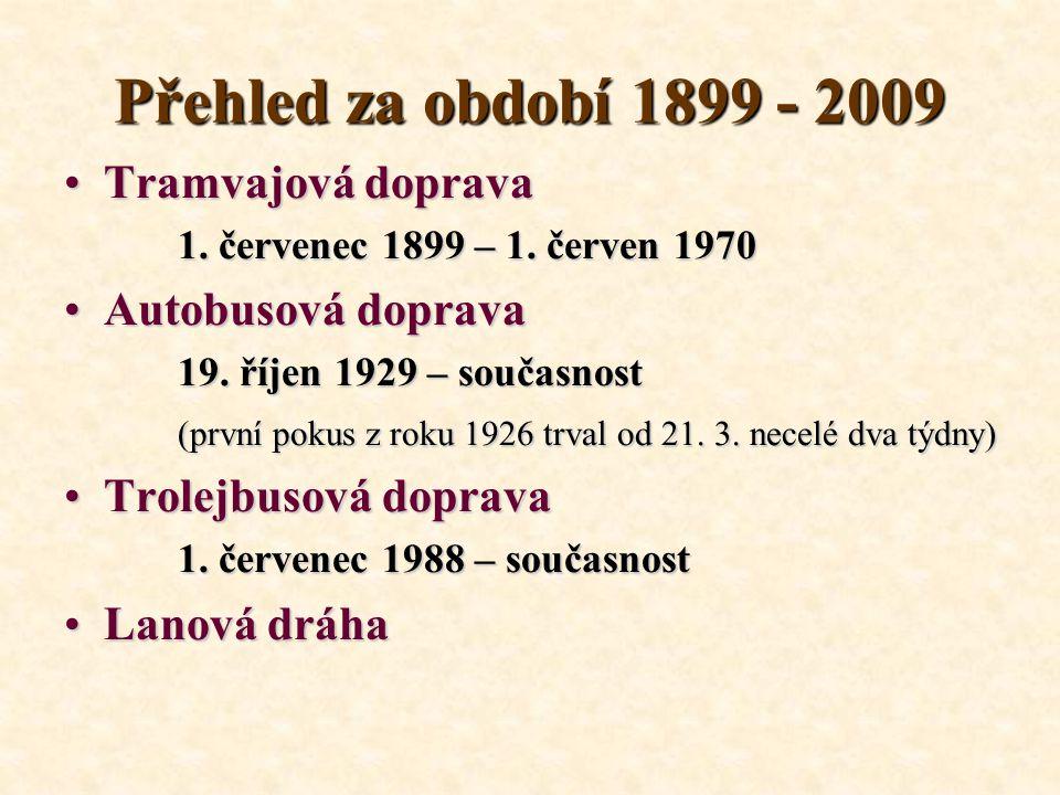 Přehled za období 1899 - 2009 Tramvajová dopravaTramvajová doprava 1. červenec 1899 – 1. červen 1970 1. červenec 1899 – 1. červen 1970 Autobusová dopr