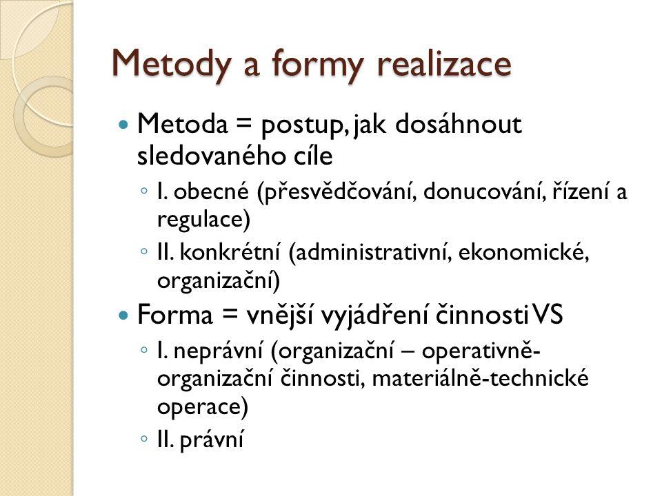 Metody a formy realizace Metoda = postup, jak dosáhnout sledovaného cíle ◦ I. obecné (přesvědčování, donucování, řízení a regulace) ◦ II. konkrétní (a