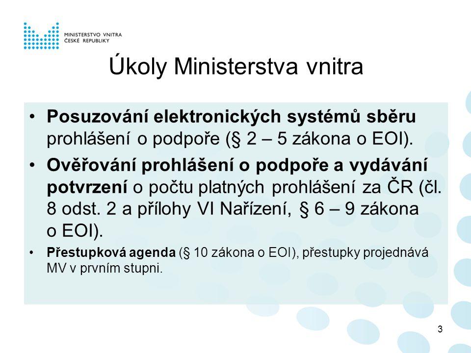 Úkoly Ministerstva vnitra Posuzování elektronických systémů sběru prohlášení o podpoře (§ 2 – 5 zákona o EOI).