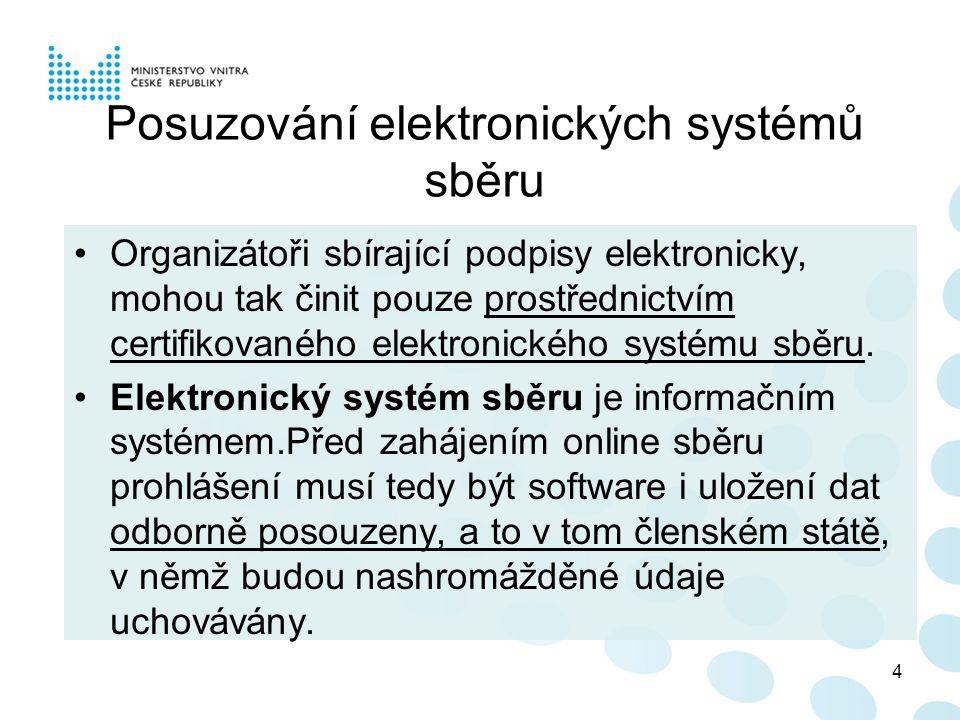 Posuzování elektronických systémů sběru Organizátoři sbírající podpisy elektronicky, mohou tak činit pouze prostřednictvím certifikovaného elektronického systému sběru.