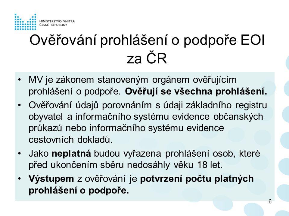 Ověřování prohlášení o podpoře EOI za ČR MV je zákonem stanoveným orgánem ověřujícím prohlášení o podpoře.