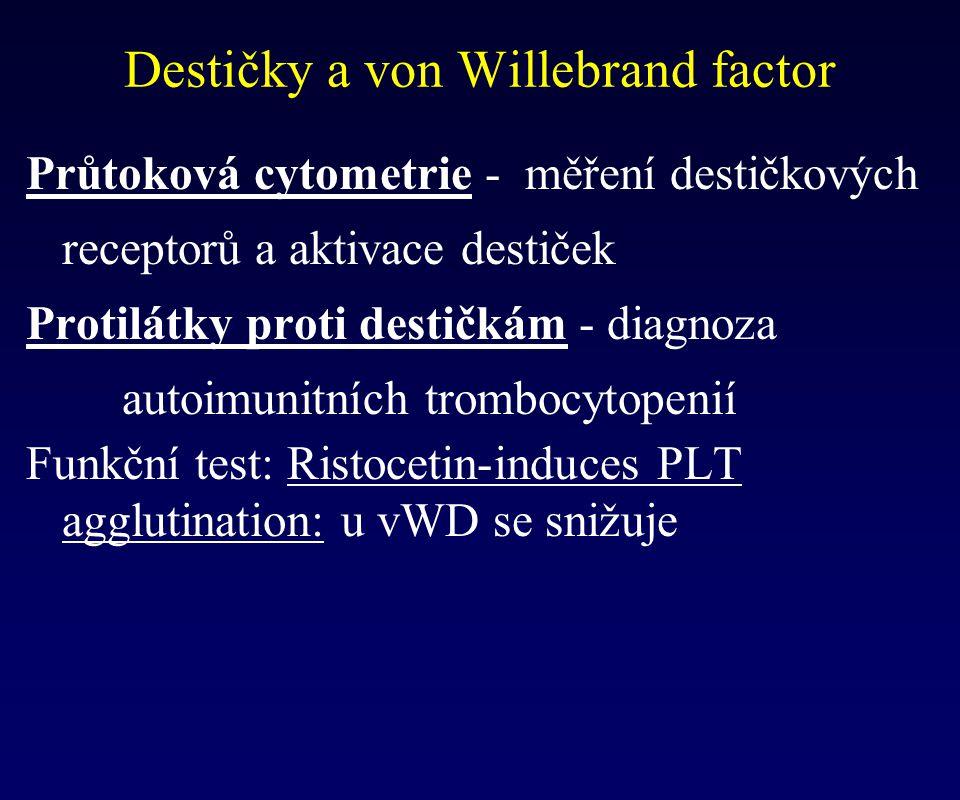 Průtoková cytometrie - měření destičkových receptorů a aktivace destiček Protilátky proti destičkám - diagnoza autoimunitních trombocytopenií Funkční