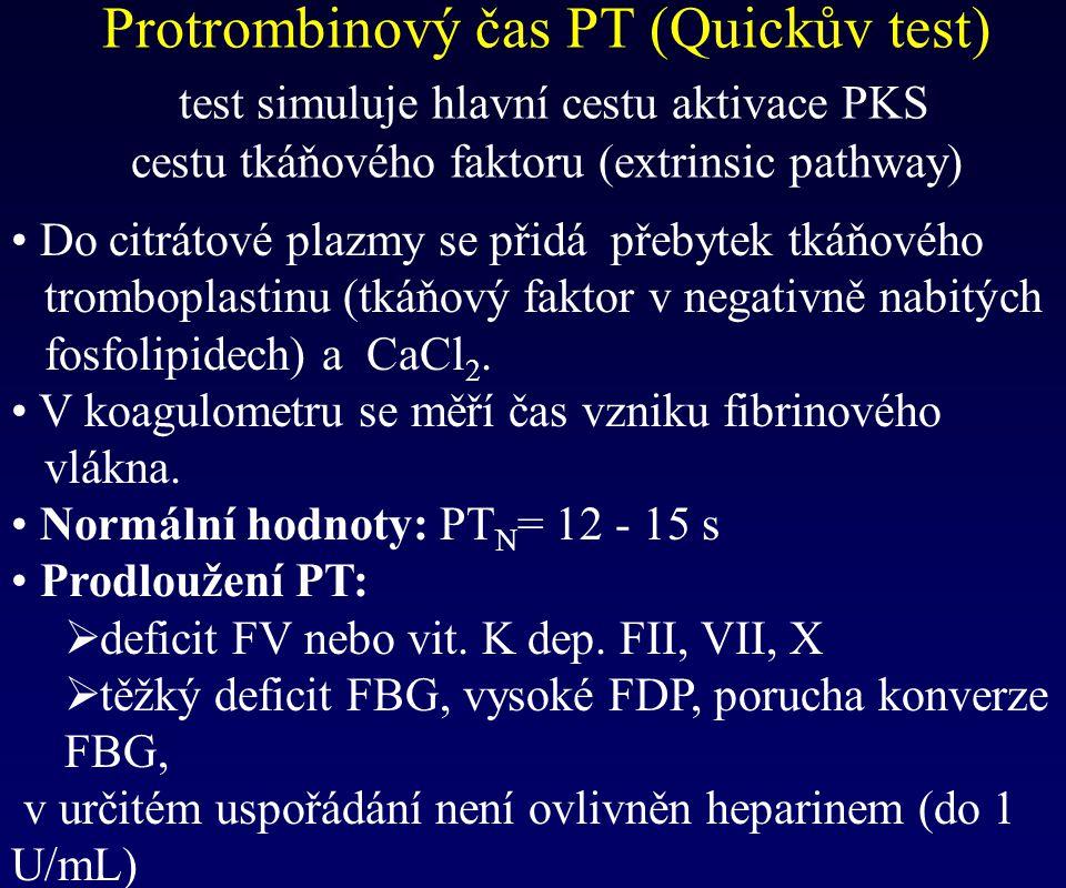 Protrombinový čas PT (Quickův test) test simuluje hlavní cestu aktivace PKS cestu tkáňového faktoru (extrinsic pathway) Do citrátové plazmy se přidá p