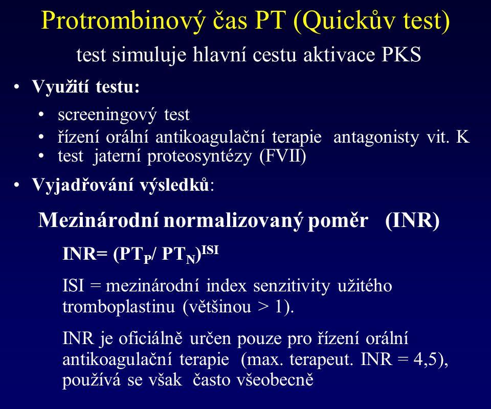 Využití testu: screeningový test řízení orální antikoagulační terapie antagonisty vit. K test jaterní proteosyntézy (FVII) Vyjadřování výsledků: Mezin