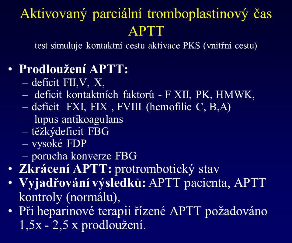 Prodloužení APTT: –deficit FII,V, X, – deficit kontaktních faktorů - F XII, PK, HMWK, –deficit FXI, FIX, FVIII (hemofilie C, B,A) – lupus antikoagulan
