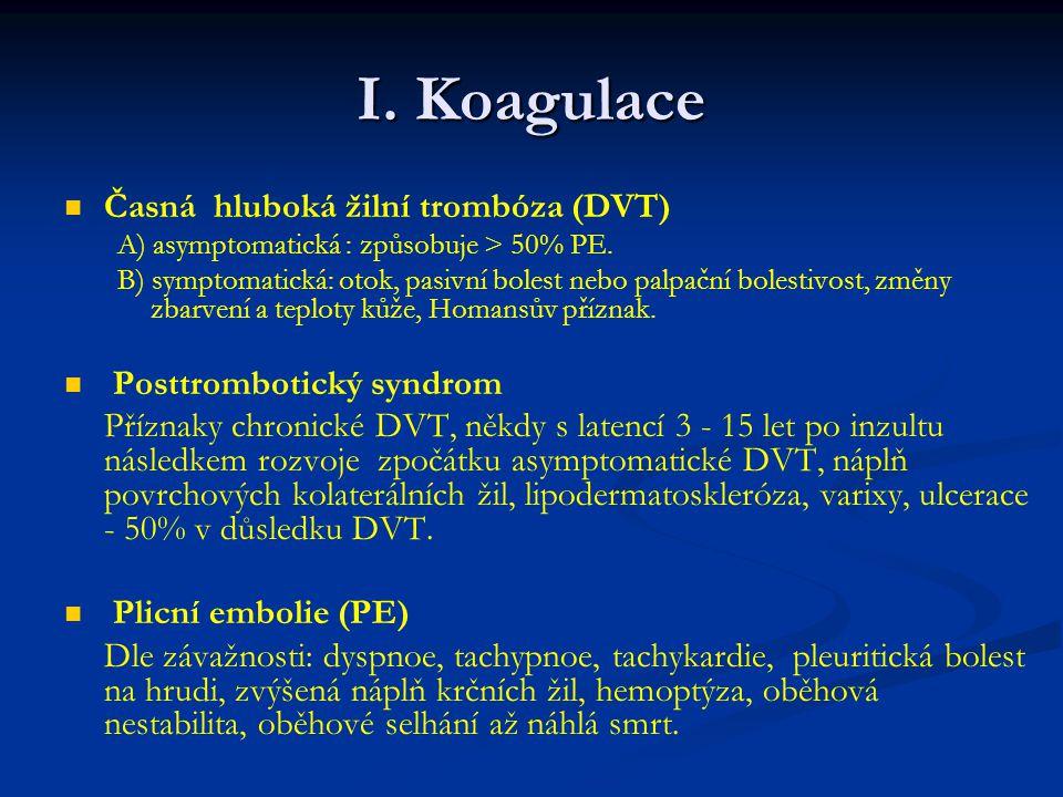 I.Koagulace Časná hluboká žilní trombóza (DVT) A) asymptomatická : způsobuje > 50% PE.