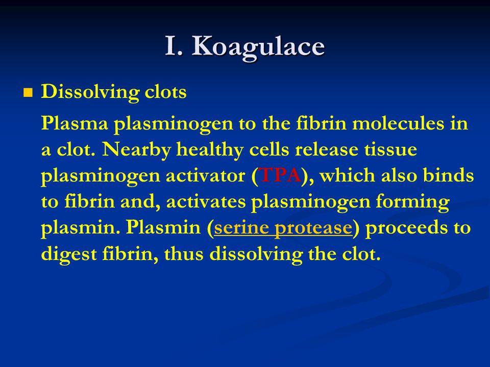 I.Koagulace Dissolving clots Plasma plasminogen to the fibrin molecules in a clot.