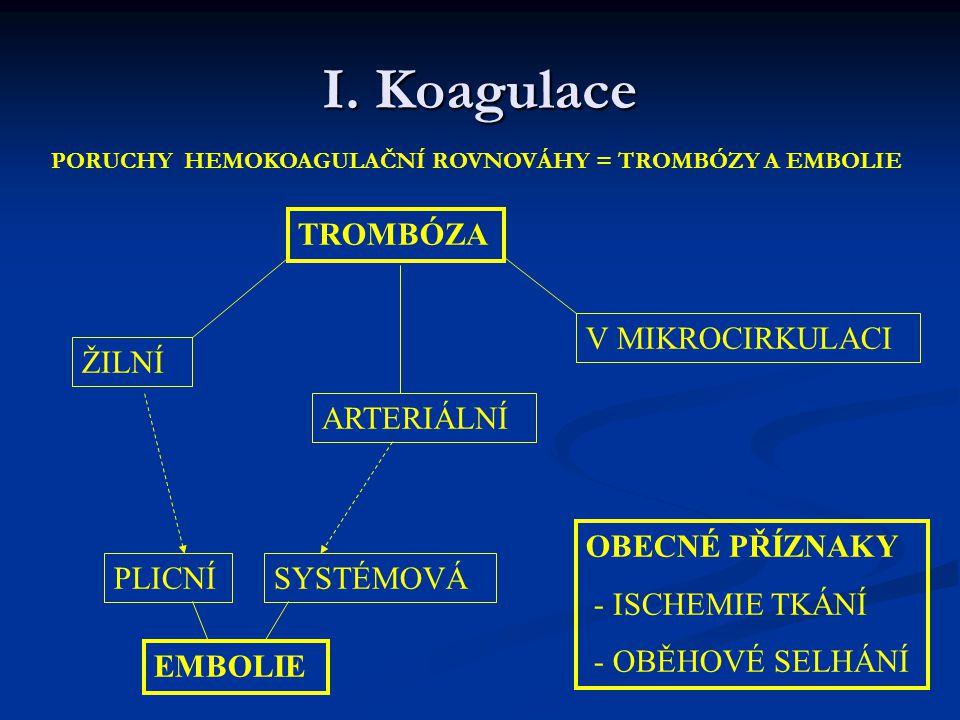 I. Koagulace PORUCHY HEMOKOAGULAČNÍ ROVNOVÁHY = TROMBÓZY A EMBOLIE TROMBÓZA V MIKROCIRKULACI ARTERIÁLNÍ ŽILNÍ EMBOLIE PLICNÍSYSTÉMOVÁ OBECNÉ PŘÍZNAKY
