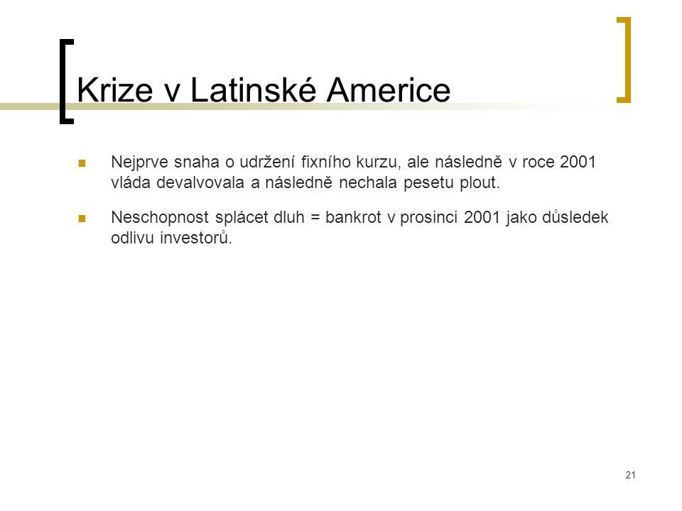 21 Krize v Latinské Americe Nejprve snaha o udržení fixního kurzu, ale následně v roce 2001 vláda devalvovala a následně nechala pesetu plout. Neschop