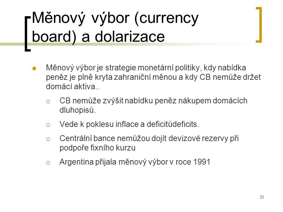 33 Měnový výbor (currency board) a dolarizace Měnový výbor je strategie monetární politiky, kdy nabídka peněz je plně kryta zahraniční měnou a kdy CB