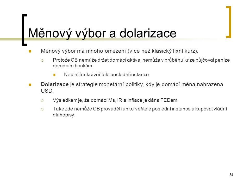 34 Měnový výbor a dolarizace Měnový výbor má mnoho omezení (více než klasický fixní kurz).  Protože CB nemůže držet domácí aktiva, nemůže v průběhu k