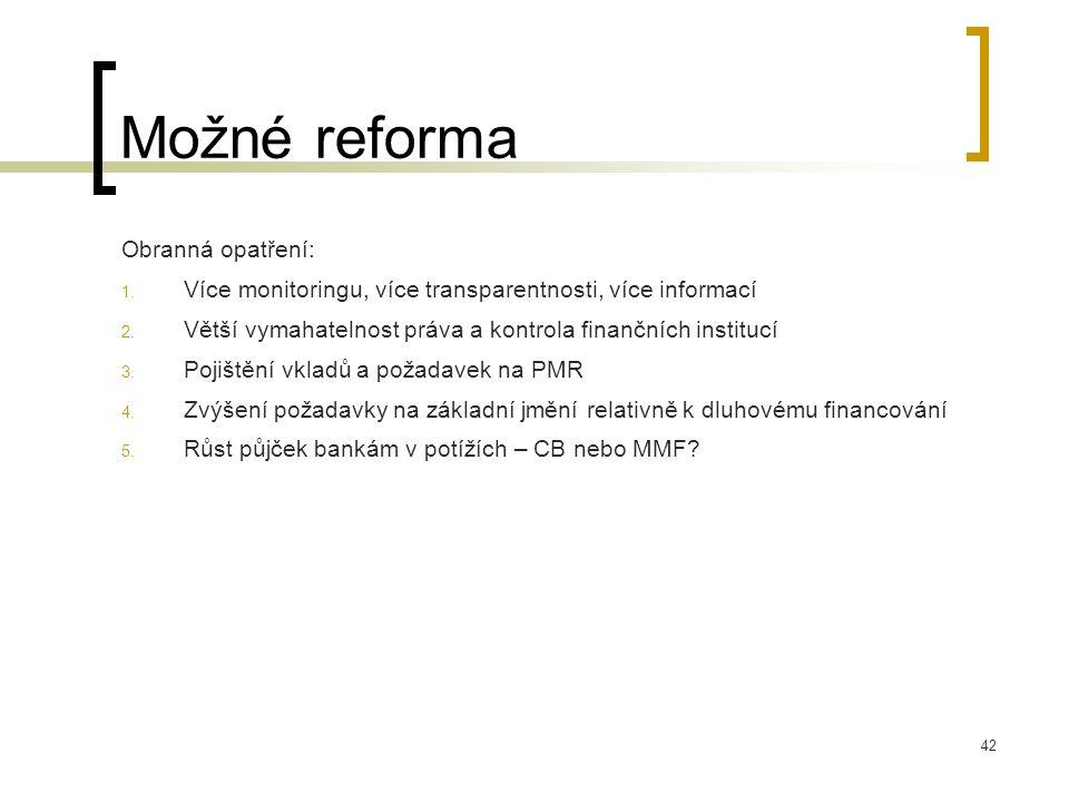 42 Možné reforma Obranná opatření: 1. Více monitoringu, více transparentnosti, více informací 2. Větší vymahatelnost práva a kontrola finančních insti