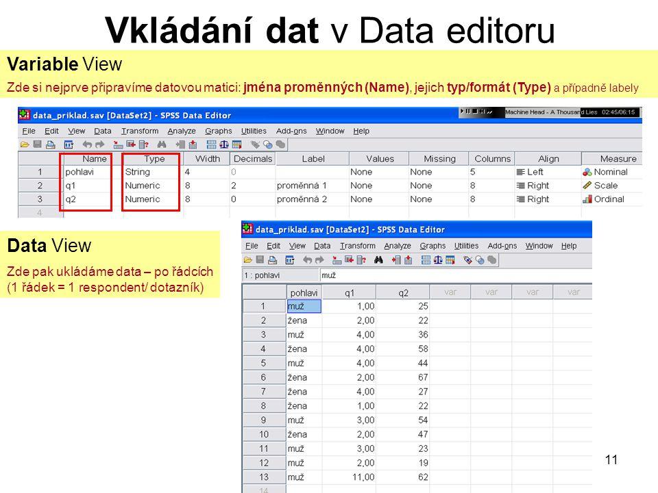 11 Vkládání dat v Data editoru Variable View Zde si nejprve připravíme datovou matici: jména proměnných (Name), jejich typ/formát (Type) a případně la