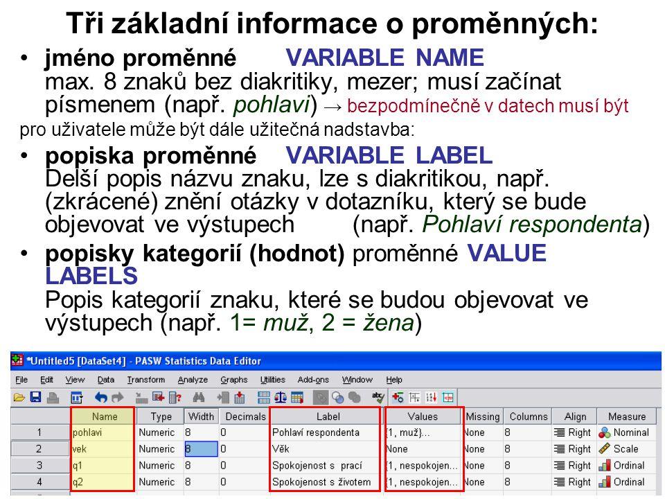 12 Tři základní informace o proměnných: jméno proměnné VARIABLE NAME max. 8 znaků bez diakritiky, mezer; musí začínat písmenem (např. pohlavi) → bezpo