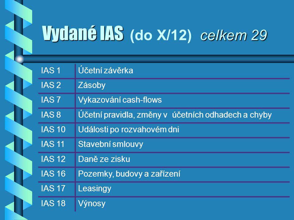 Vydané IAS celkem 29 Vydané IAS (do X/12) celkem 29 IAS 1Účetní závěrka IAS 2Zásoby IAS 7Vykazování cash-flows IAS 8Účetní pravidla, změny v účetních