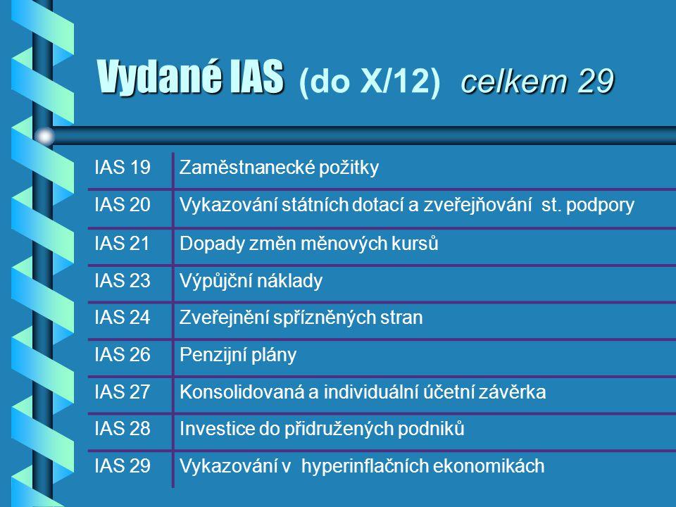 Vydané IAS celkem 29 Vydané IAS (do X/12) celkem 29 IAS 19Zaměstnanecké požitky IAS 20Vykazování státních dotací a zveřejňování st. podpory IAS 21Dopa