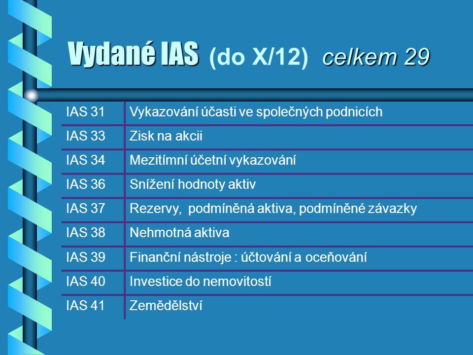 Vydané IAS celkem 29 Vydané IAS (do X/12) celkem 29 IAS 31Vykazování účasti ve společných podnicích IAS 33Zisk na akcii IAS 34Mezitímní účetní vykazov